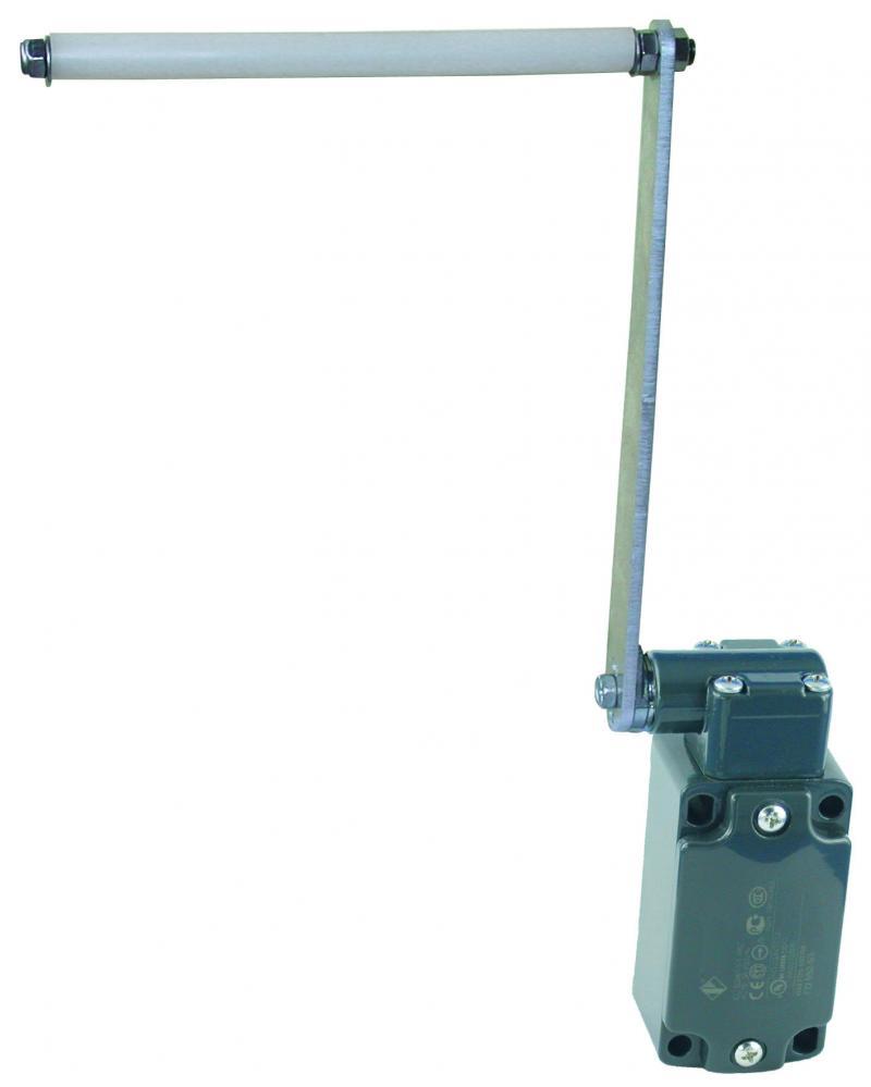 WTS - Schlaffseilschalter mit Betätigungsrolle Rollenlänge 90mm LINKS montiert Wassergeschützt - IP 67