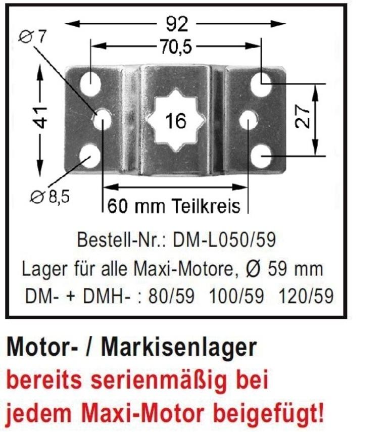 WTS - Motor- Markisenlager DM-L050-59 für Maxi - Rohrmotoren  Ø 59 mm Serie DM-59 + DMH-59