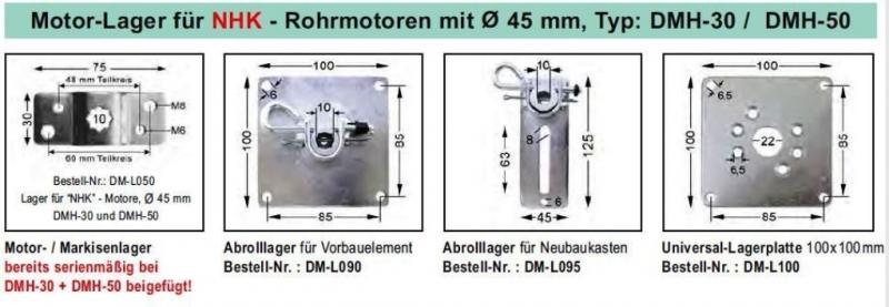 WTS - Motor Markisenlager DM-L050 für NHK - Rohrmotoren  Ø 45 mm Typ  DMH-30 und DMH-50