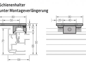 Montageverlängerung inkl .Schienenhalter - für Lewens Portofino Unterglasmarkise