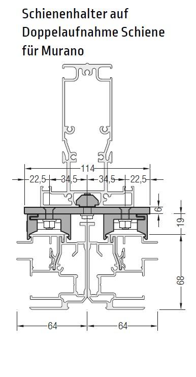 Doppelaufnahme Schiene für Murano - für Lewens Portofino Unterglasmarkise
