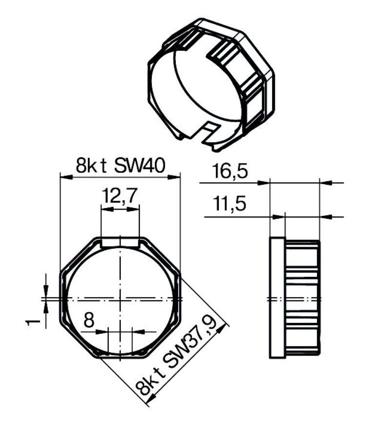 Adapterset für Rundwelle O-40 x 1,3 / 40 x 1,5,für Becker Rohrmotoren P Serie mit Hinderniserkennung