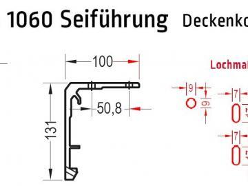 Deckenkonsole, Deckenhalter für Lewens Micro 1060 Seilführung  Senkrechtmarkise, für Deckenmontage